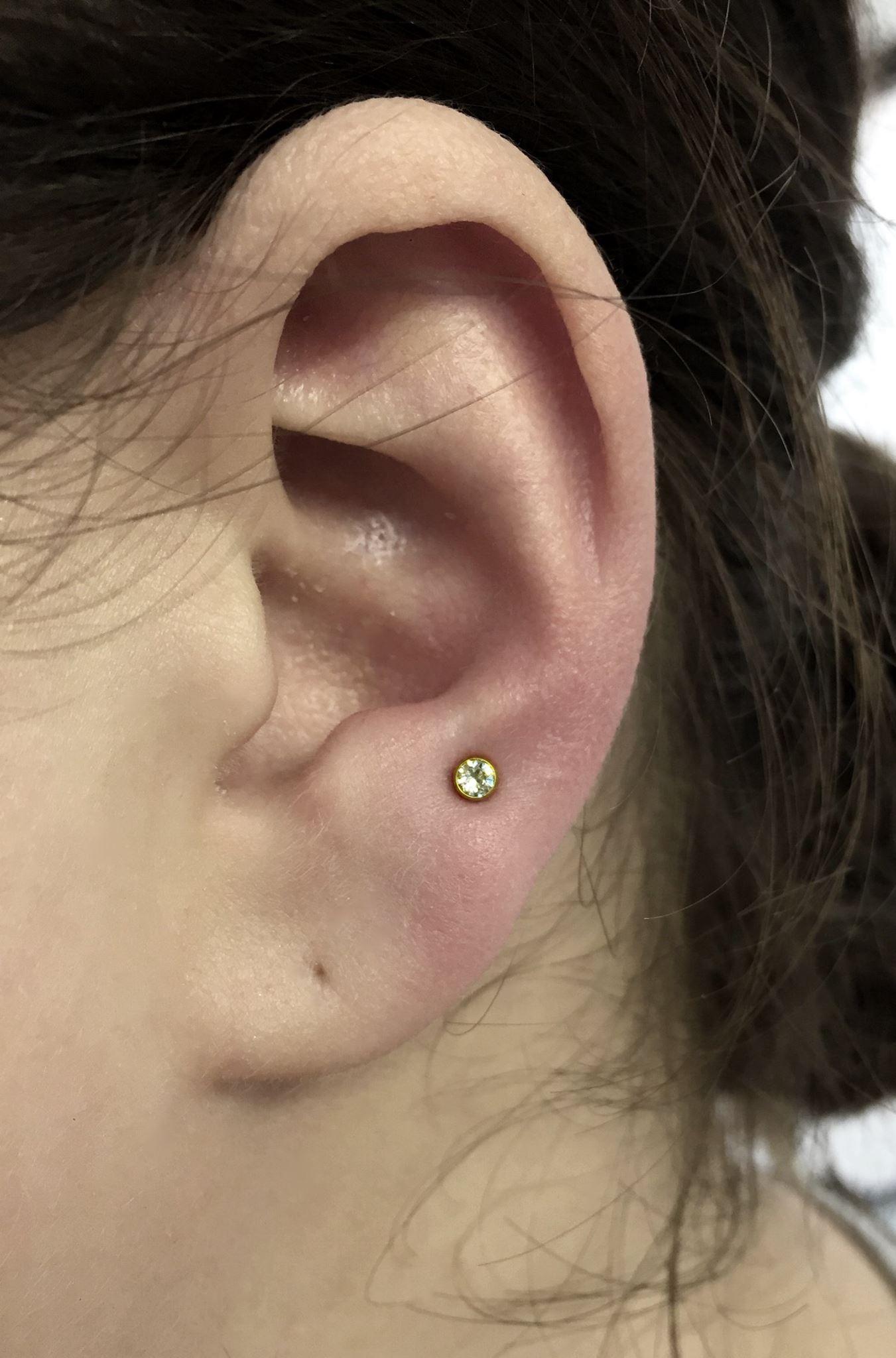 High Lobe Piercing zwei Ohrlächer übereinander