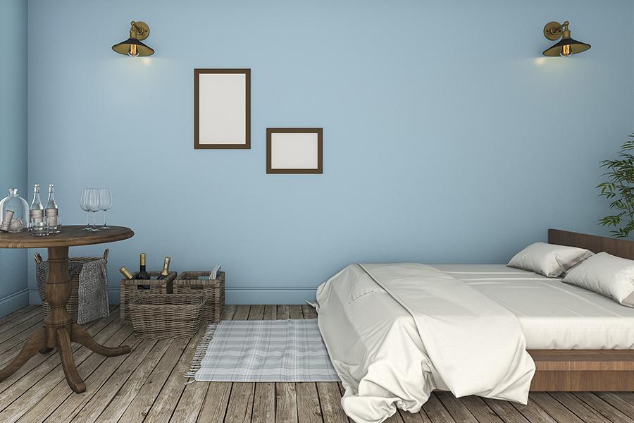 Schlafzimmer Wandfarbe Pastellblau