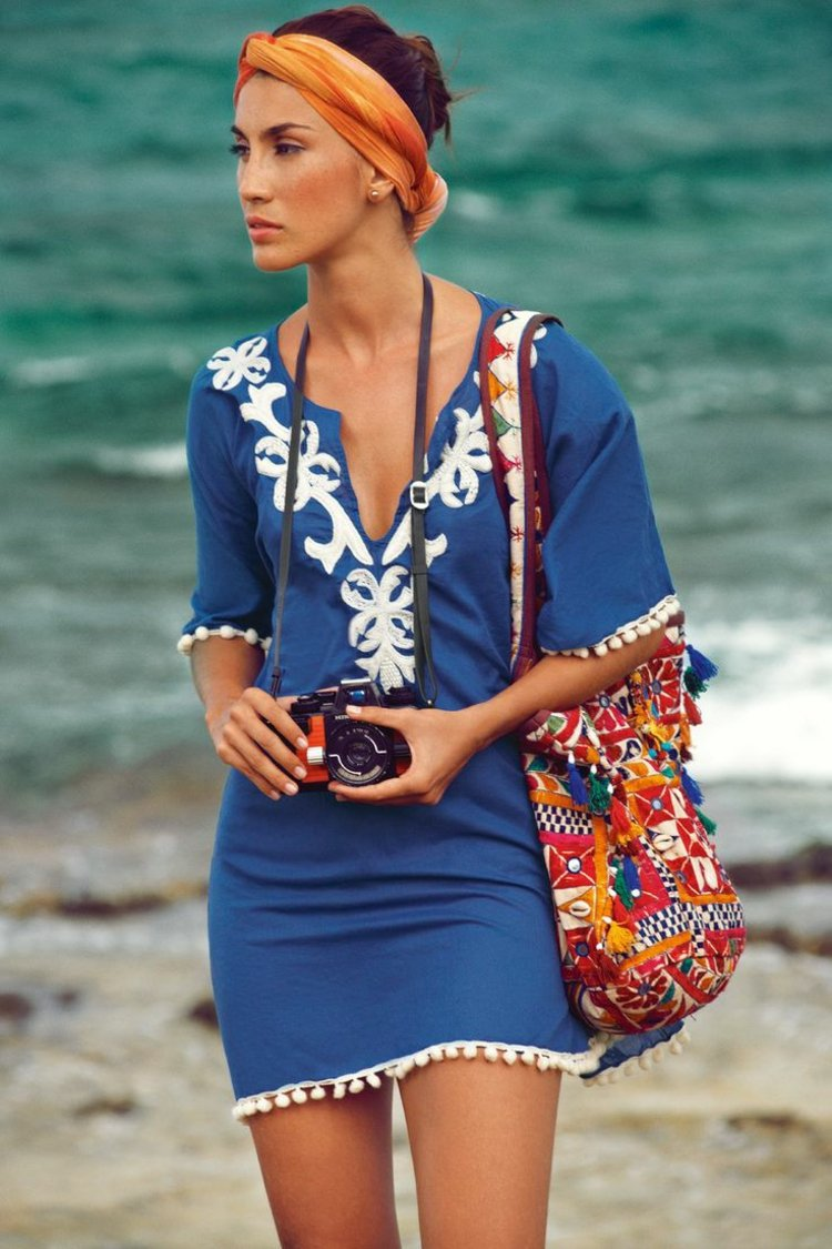 Strandtasche Kleidung Tunika Haare Bandana