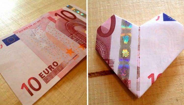 Herz basteln aus Geldschein
