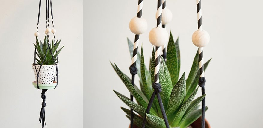 Blumenampel basteln mit Holzperlen