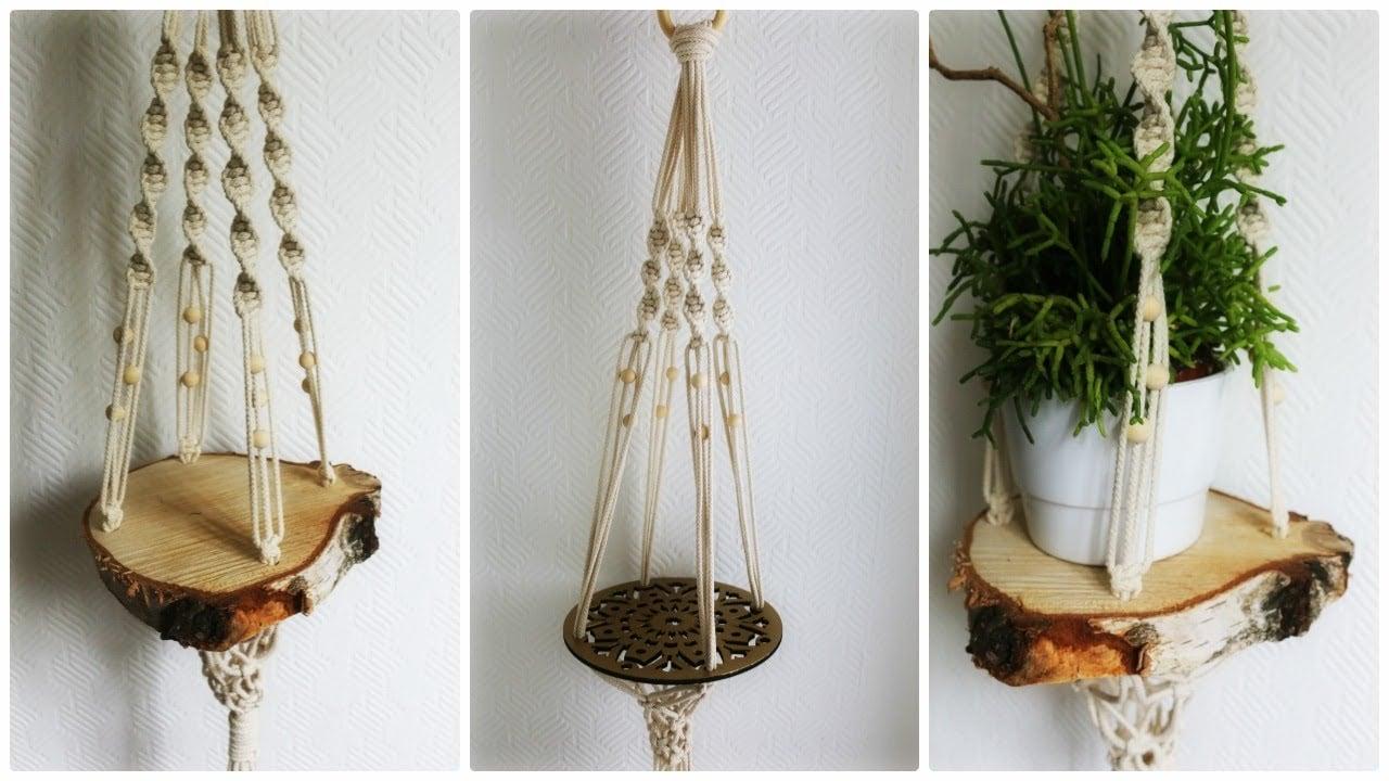 Blumenampel aus Makramee und Holz