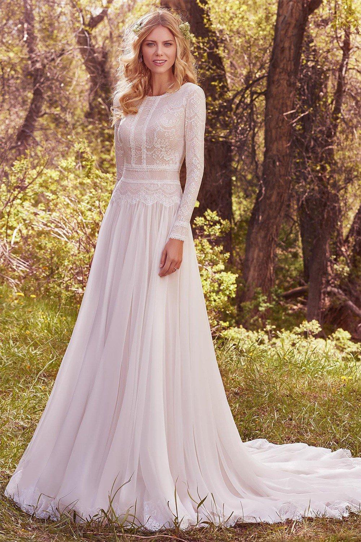 lässige Brautkleider mit langen Ärmeln