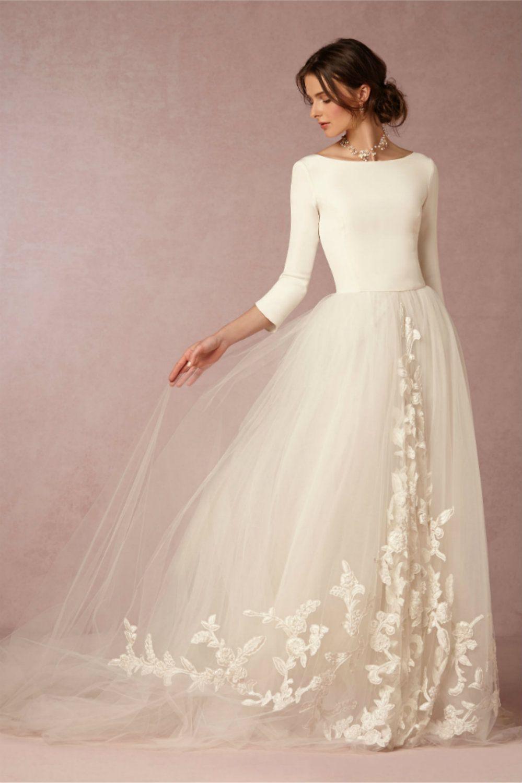 lässige Brautkleider mit langen Ärmeln und breitem Rock super stilvoll