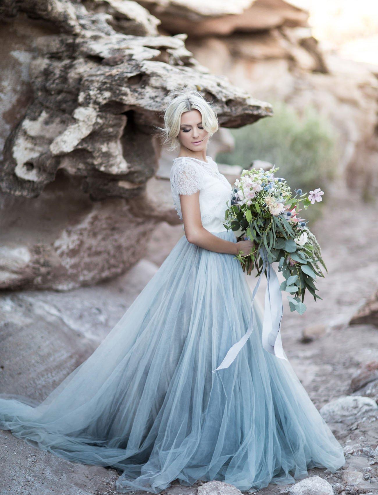 lässige Brautkleider breiter Rock Pastellblau