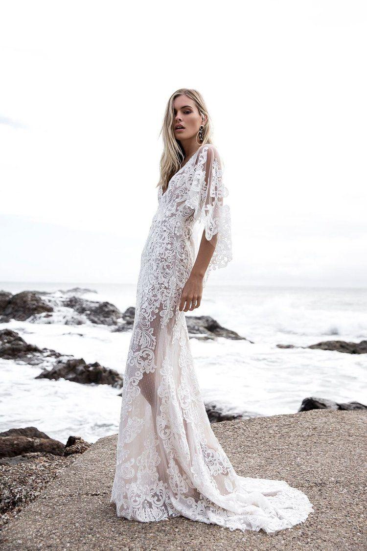 Hochzeitskleid Spitze halb transparent super elegant
