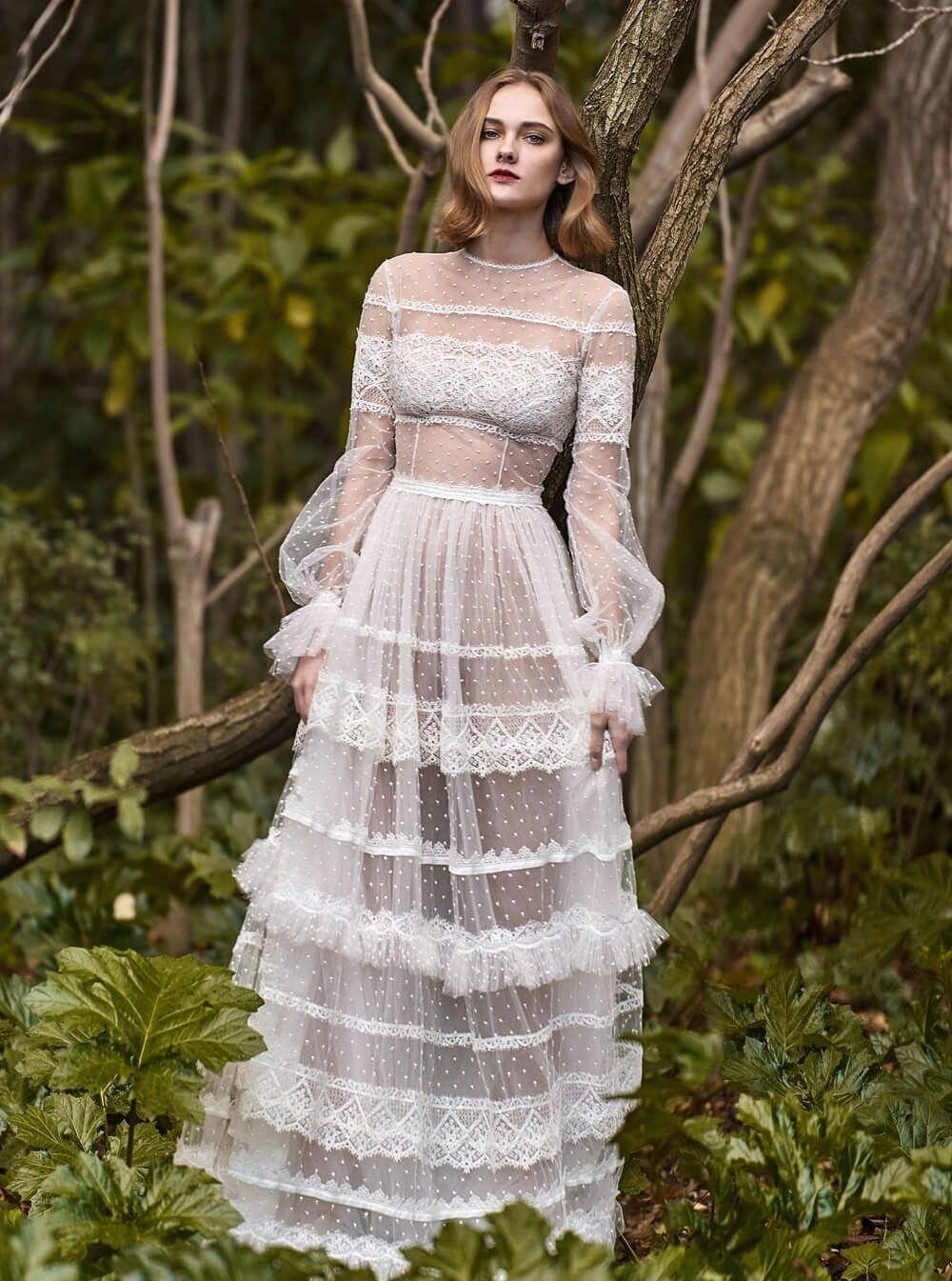 lässige Brautkleider Seide transparent