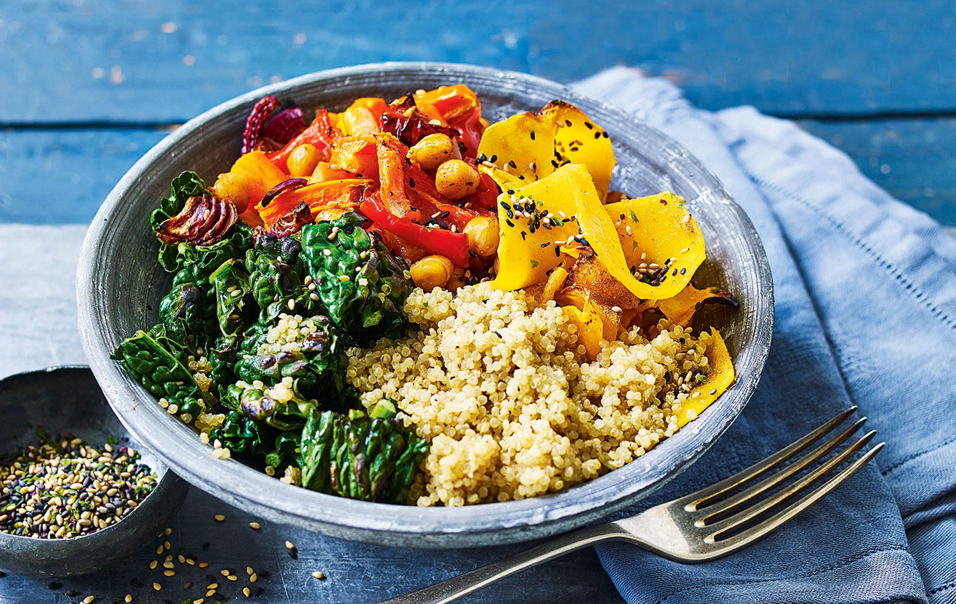 Schüssel vegan Reis und Gemüse