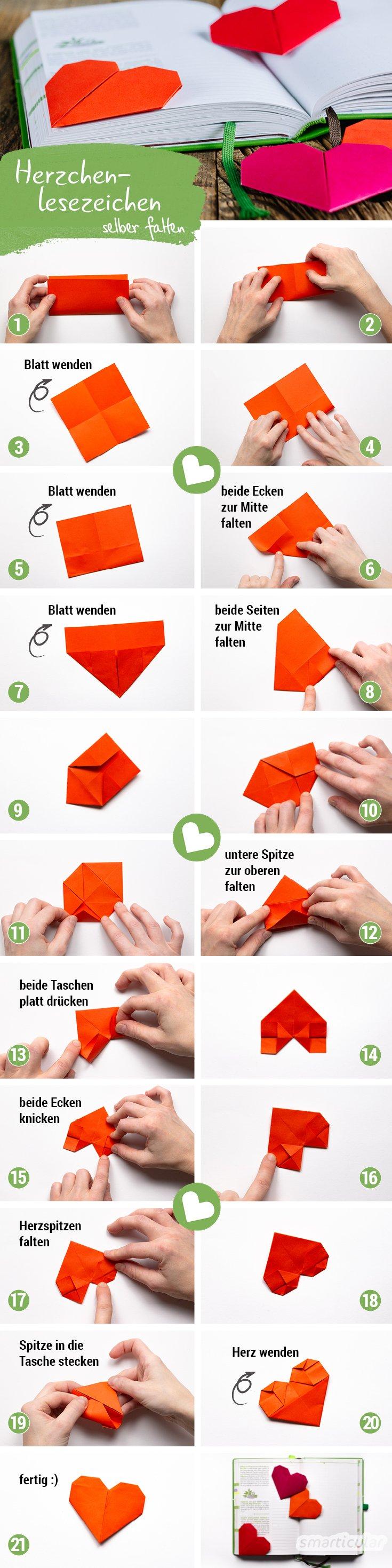 Faltanleitung Origami Herz