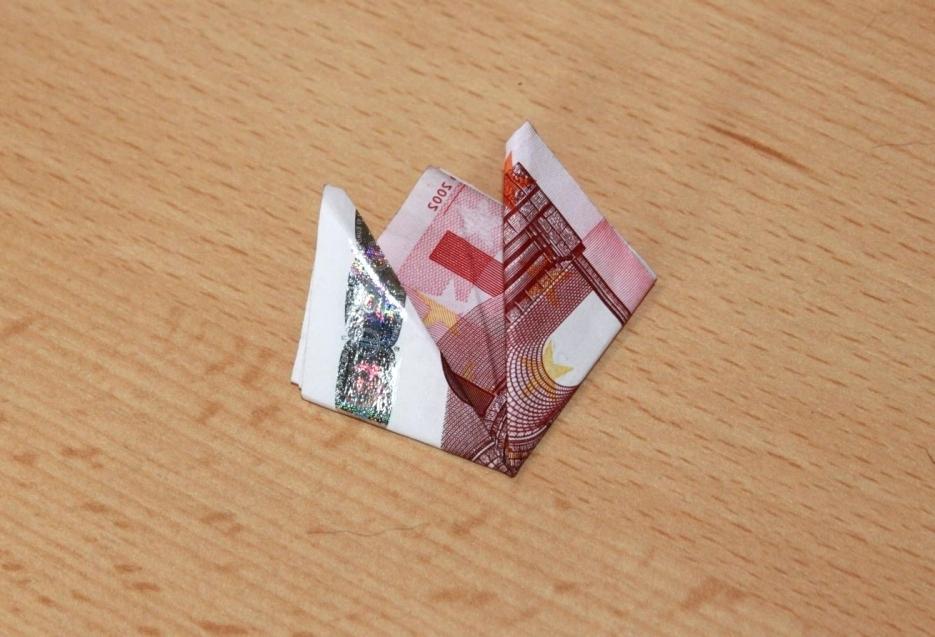 Origami falten aus Geldscheinen Geldgeschenk