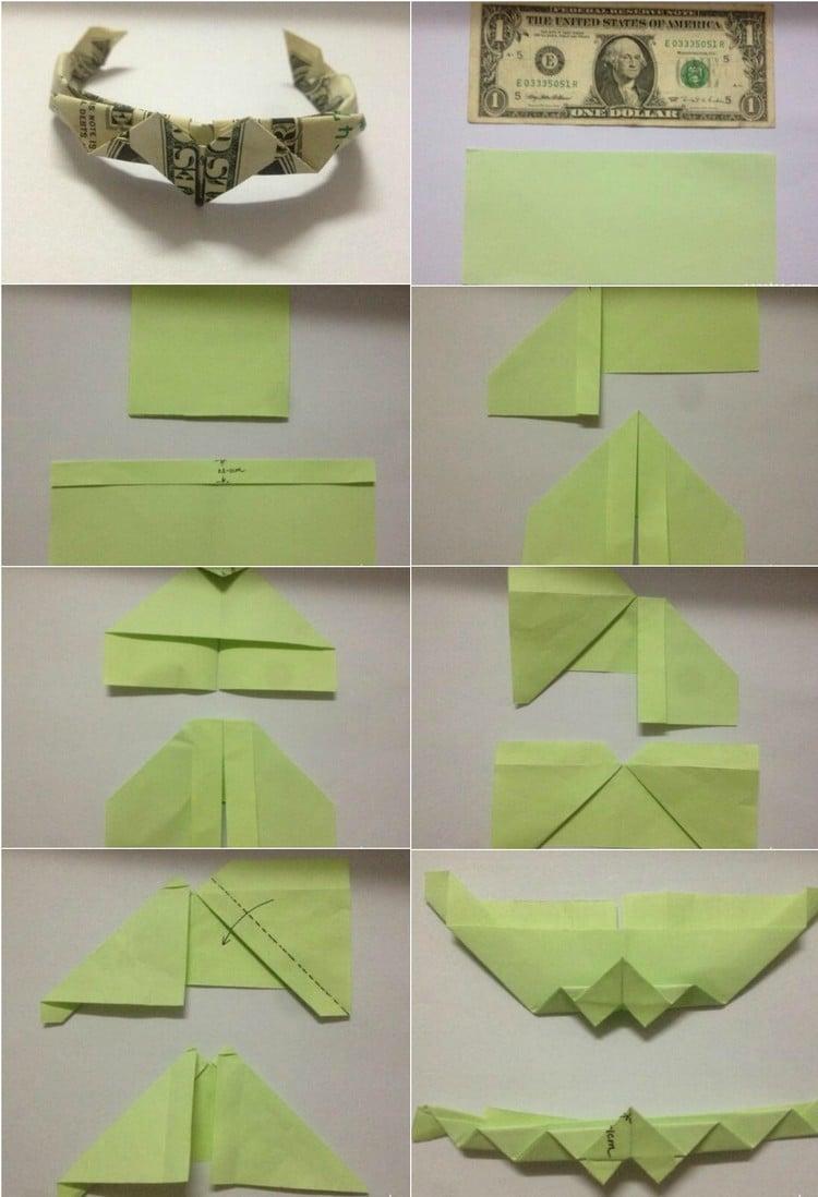 Origami Herz Geldschein Anleitung in Bildern