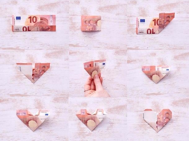 Herz basteln aus 10 Euro Geldschein