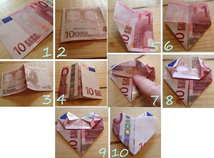 Geldschein falten Herz Anleitung in Bildern