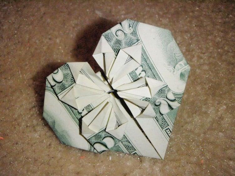 Origami Herz Geldschein herrlicher Look