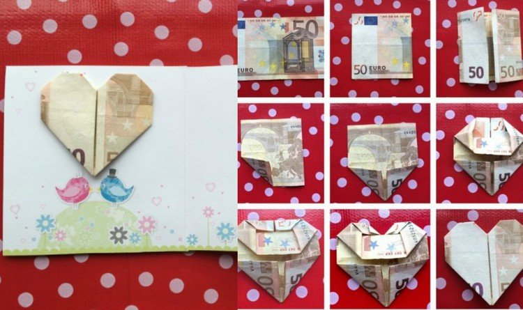 Geld falten Grußkarte dekorieren