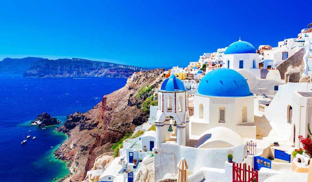Aussicht von Santorini Griechenland Urlaub Meer