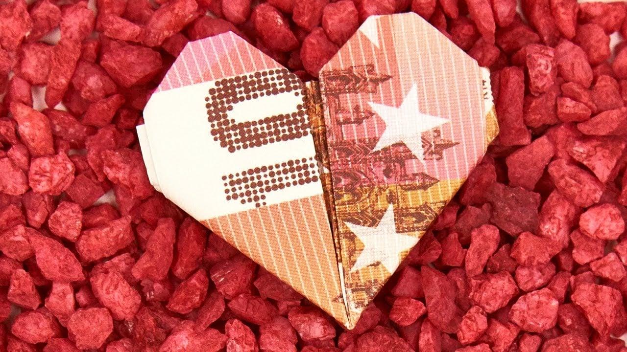 Geldschein falten Herz DIY Geschenk