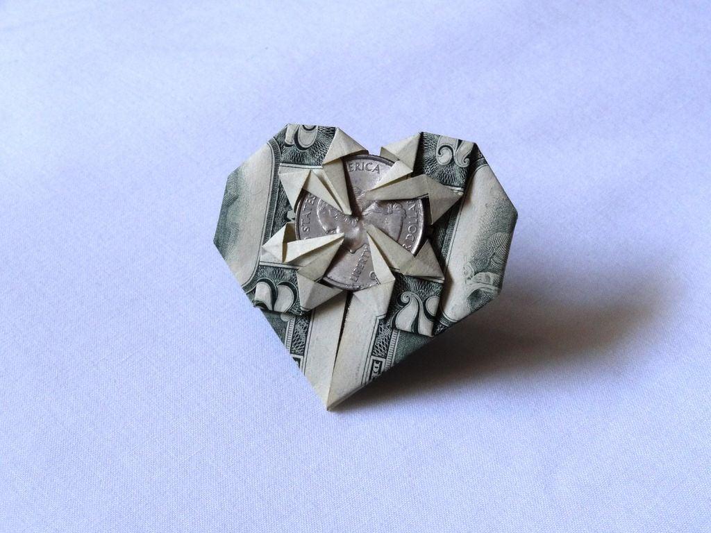 Bastelideen Herz mit Münze