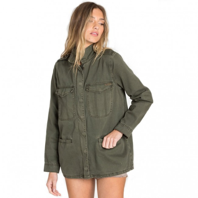 Military Jacke Damen lang grau-grün