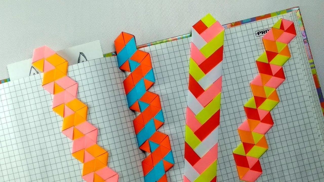 Lesezeichen aus Papier geflochten DIY