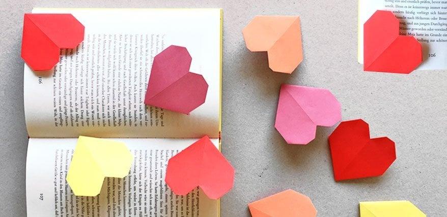 Lesezeichen basteln niedliche Herzen