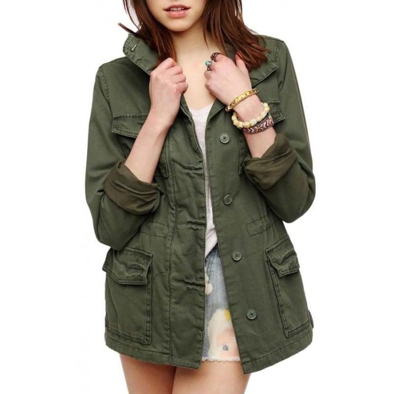 Military Jacke Damen lang dunkelgrün