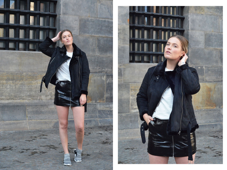 Adidas NMD Damen Jacke kurzer Lederrock