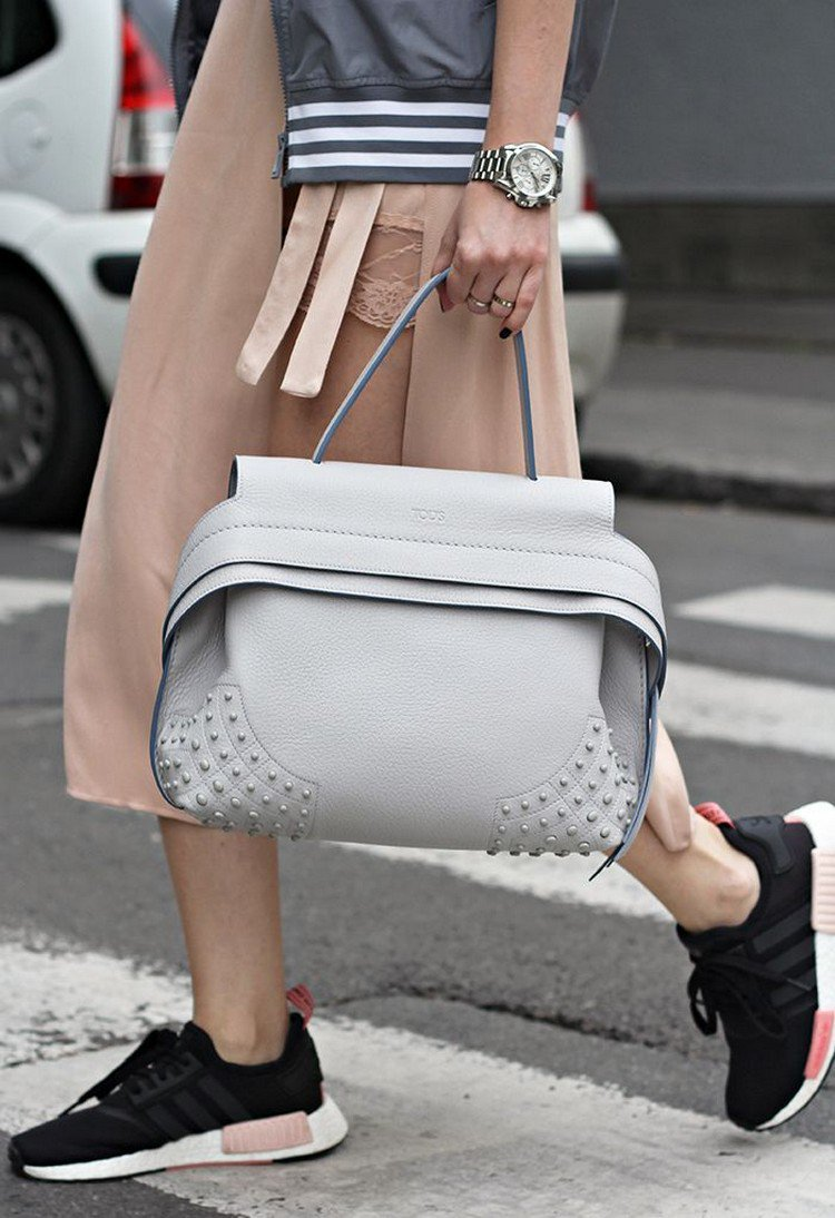 Adidas NMD Damen Midi Rock elegante Ledertasche