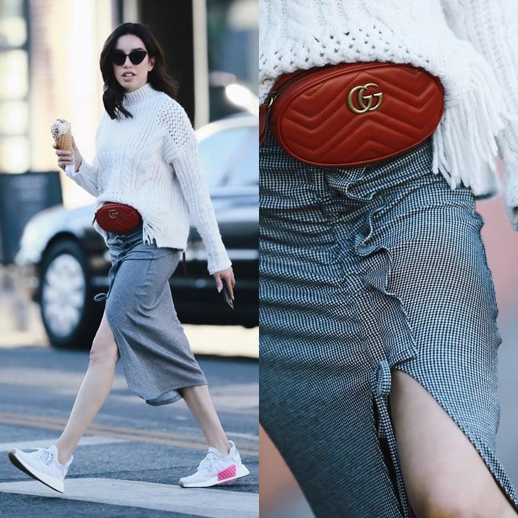 Adidas NMD Damen kombinieren mit Pulli und elegantem Rock
