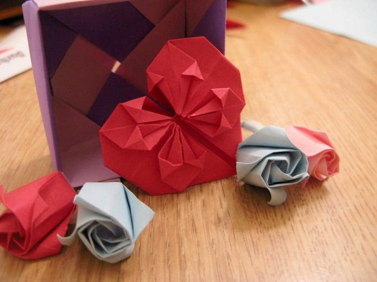 Origami Herz Rosen Papier