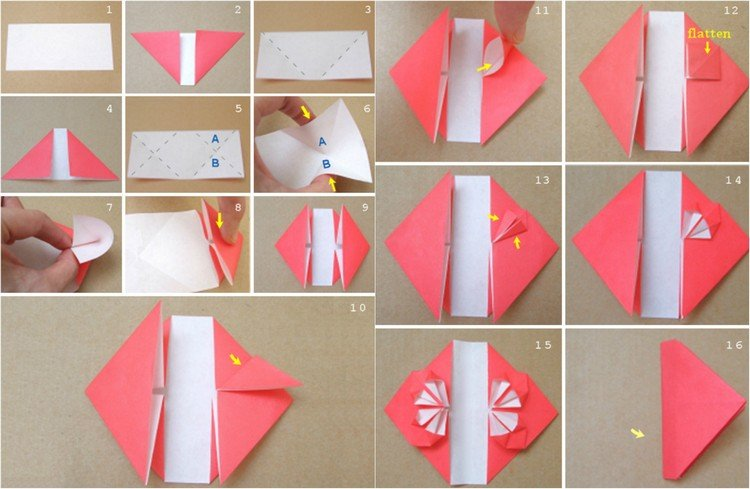 Origami falten Herz Anleitung in Bildern