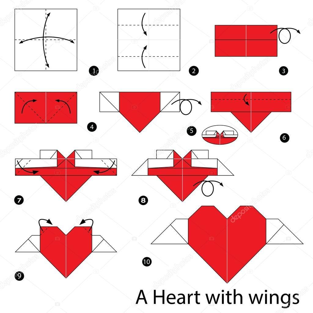Lesezeichen basteln Herz mit Flügeln