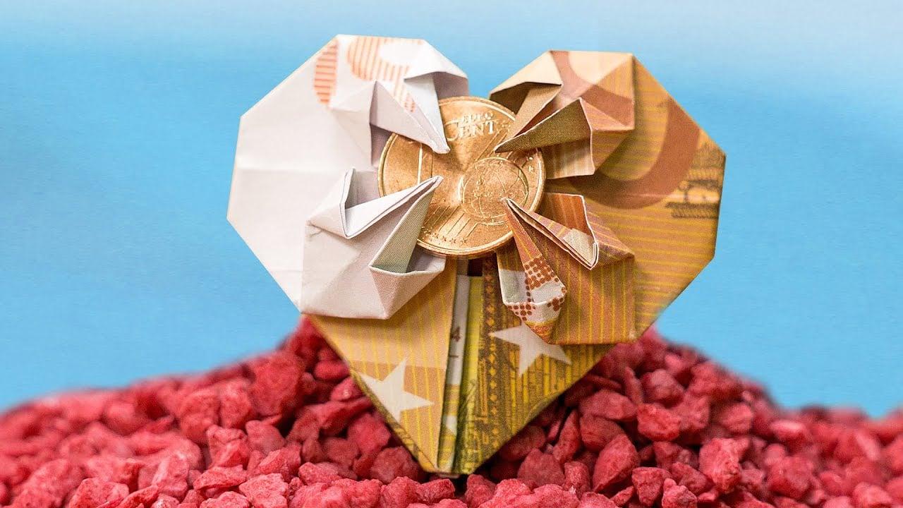 Origami Herz mit Mpnze eindrucksvoller Look