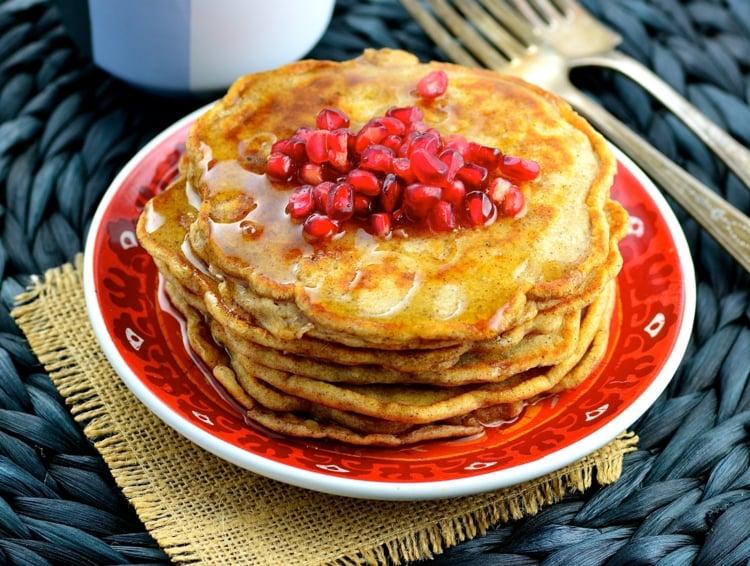 abnehmen zuckerfreie Pfannkuchen mit Granatapfel