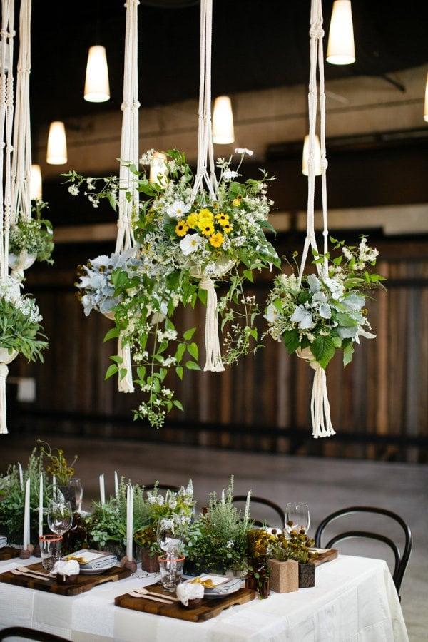 DEko Hochzeit hängende Blumentöpfe