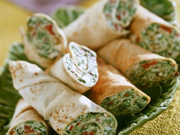 Tortilla Rollen Spinat Couscous vegan