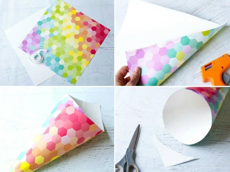 Zuckertüte machen aus buntem Papier