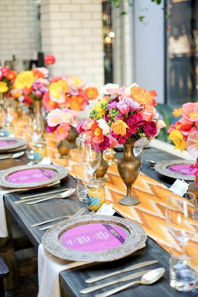 Tischdeko bunt Blumen goldene Hochzeit