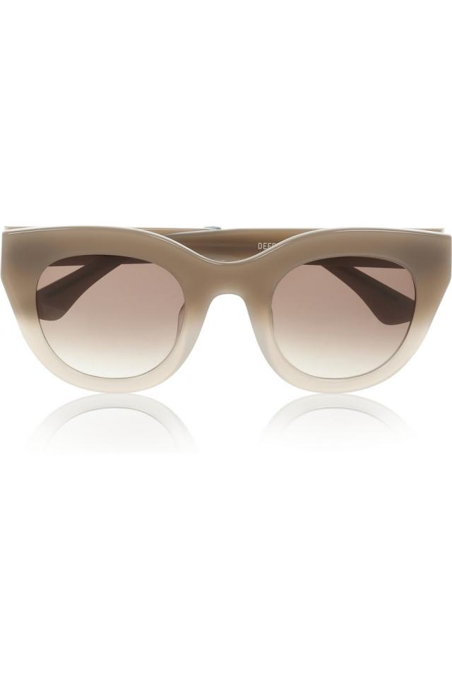 Sonnenbrille Damen Retro beige Gestell massiv Plastik