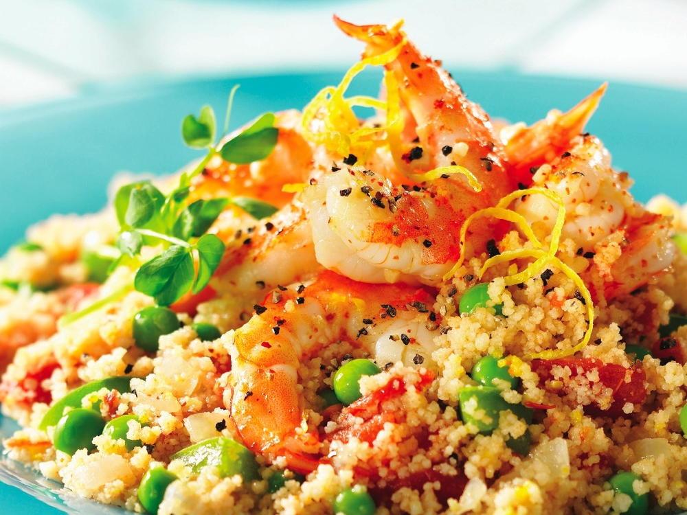 Shrimps Rezepte Couscous Salat mit Gemüse
