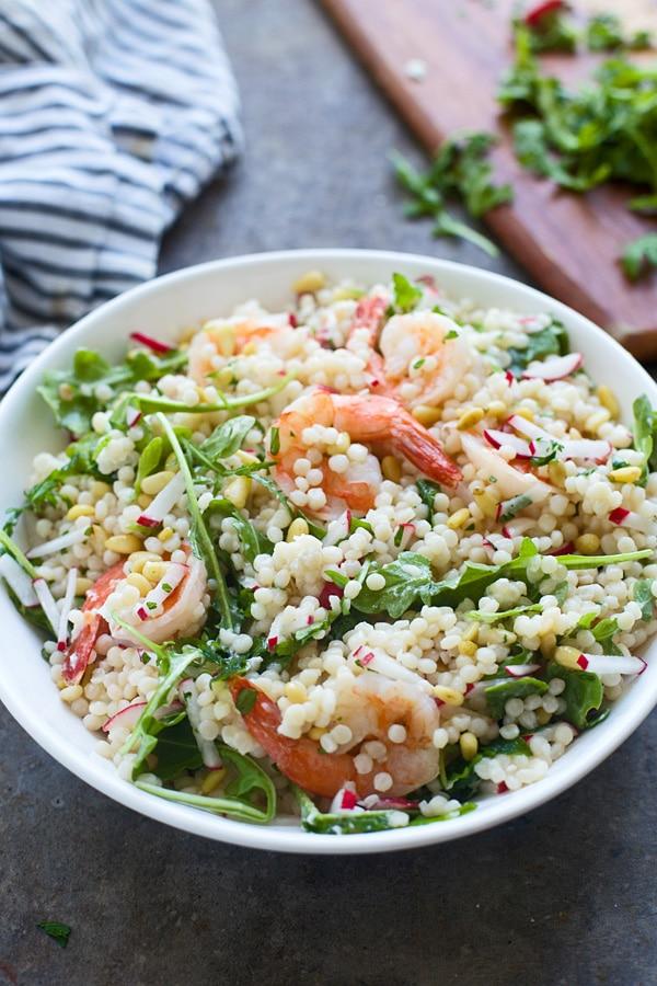 Couscous Salat mit Garnelen selber zubereiten Sommer