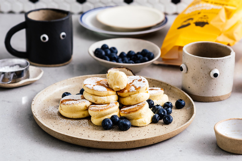 Mini-Pancakes fluffig Blaubeeren