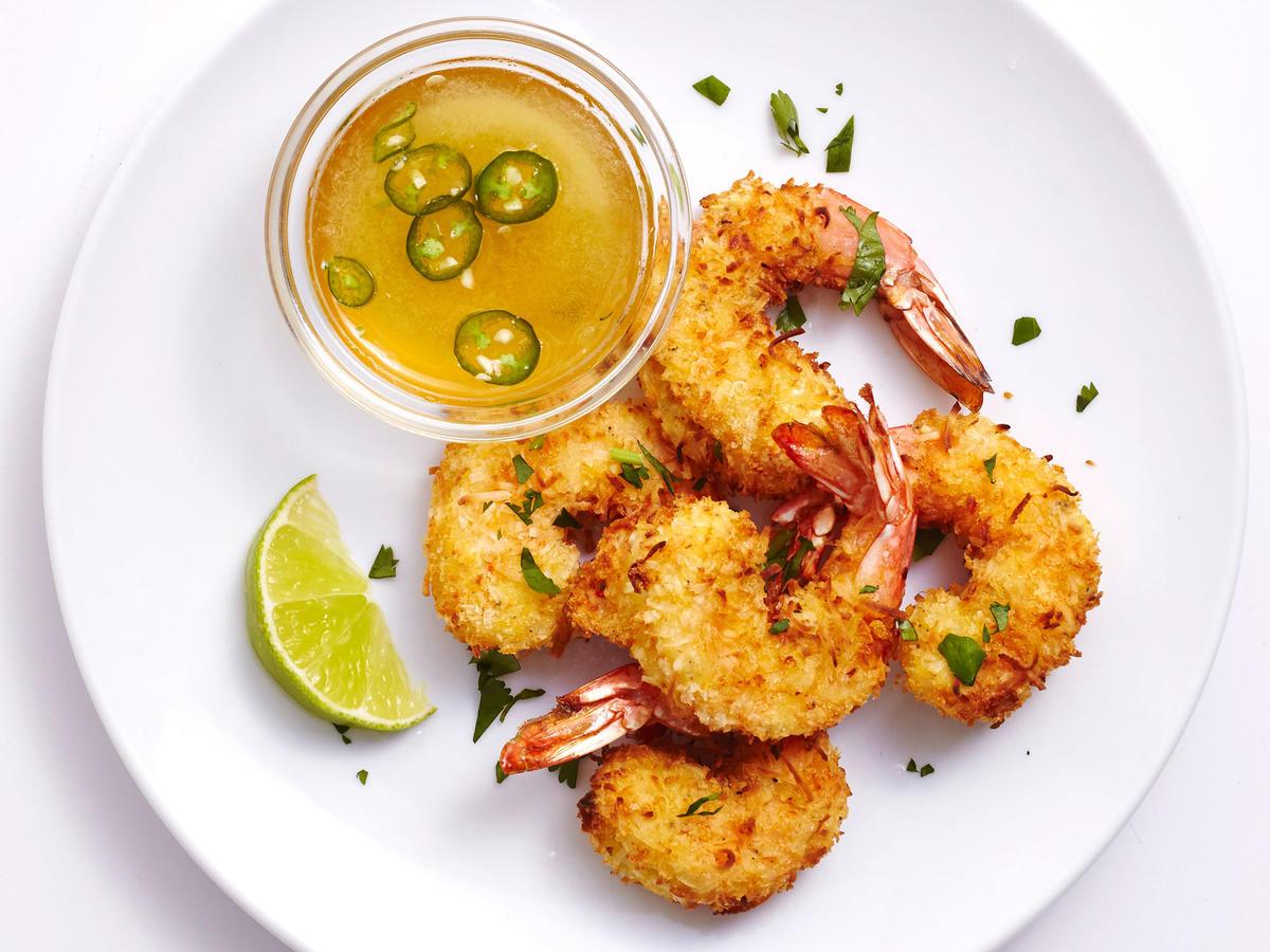 Shrimps Rezepte gebaraten mit Kokosraspeln knusprig
