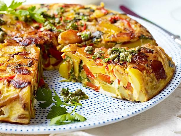 Gemüse-Tortilla leicht lecker Mittagessen