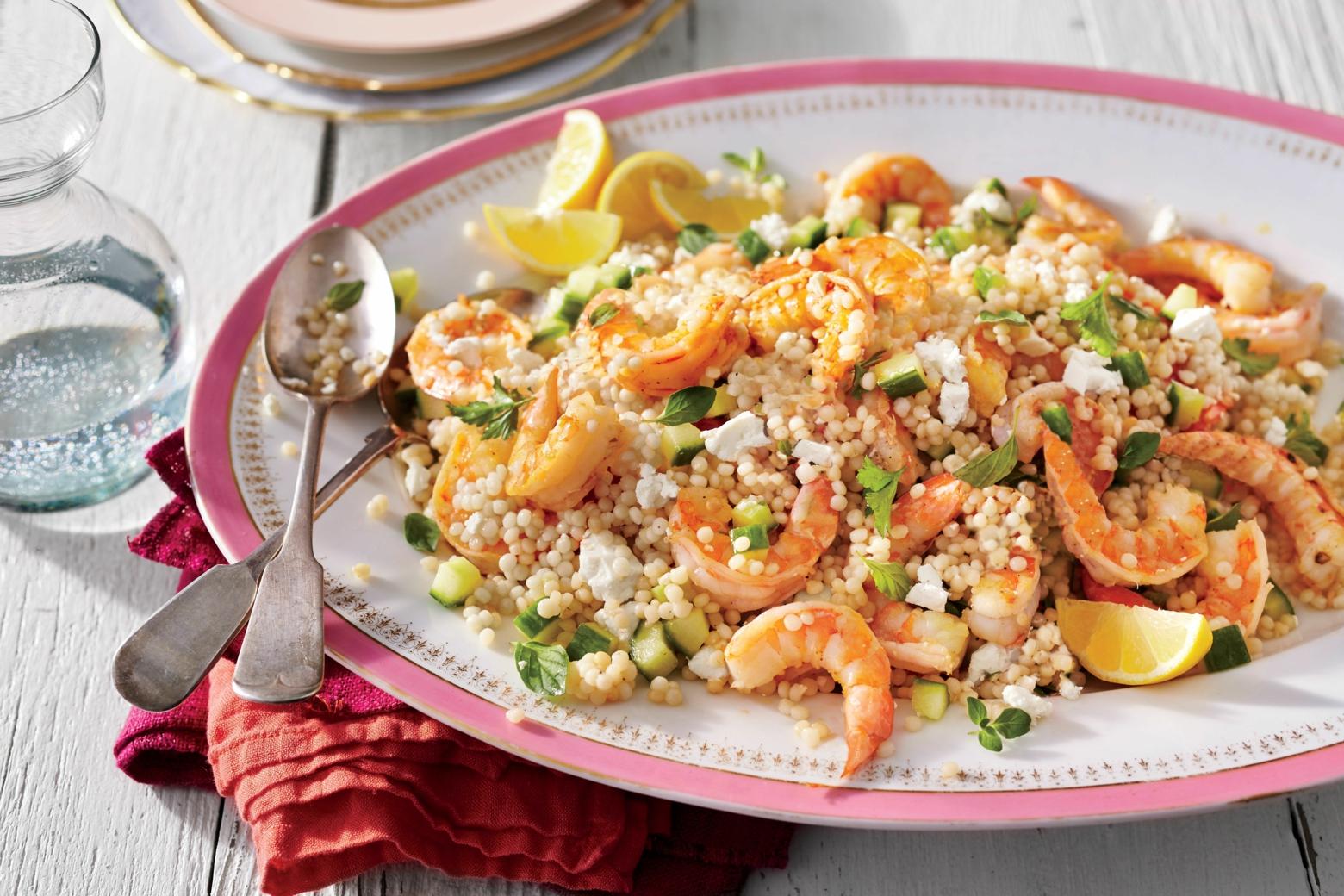 Shrimps Rezepte schmackhafter Couscous Salat