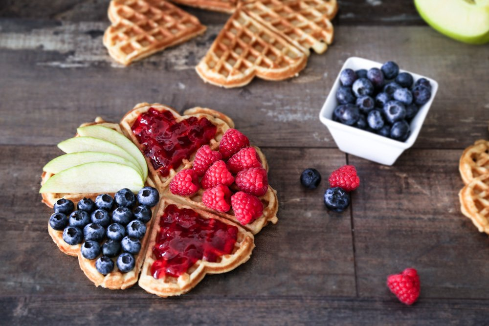 gesundes Frühstück vegane Waffeln backen