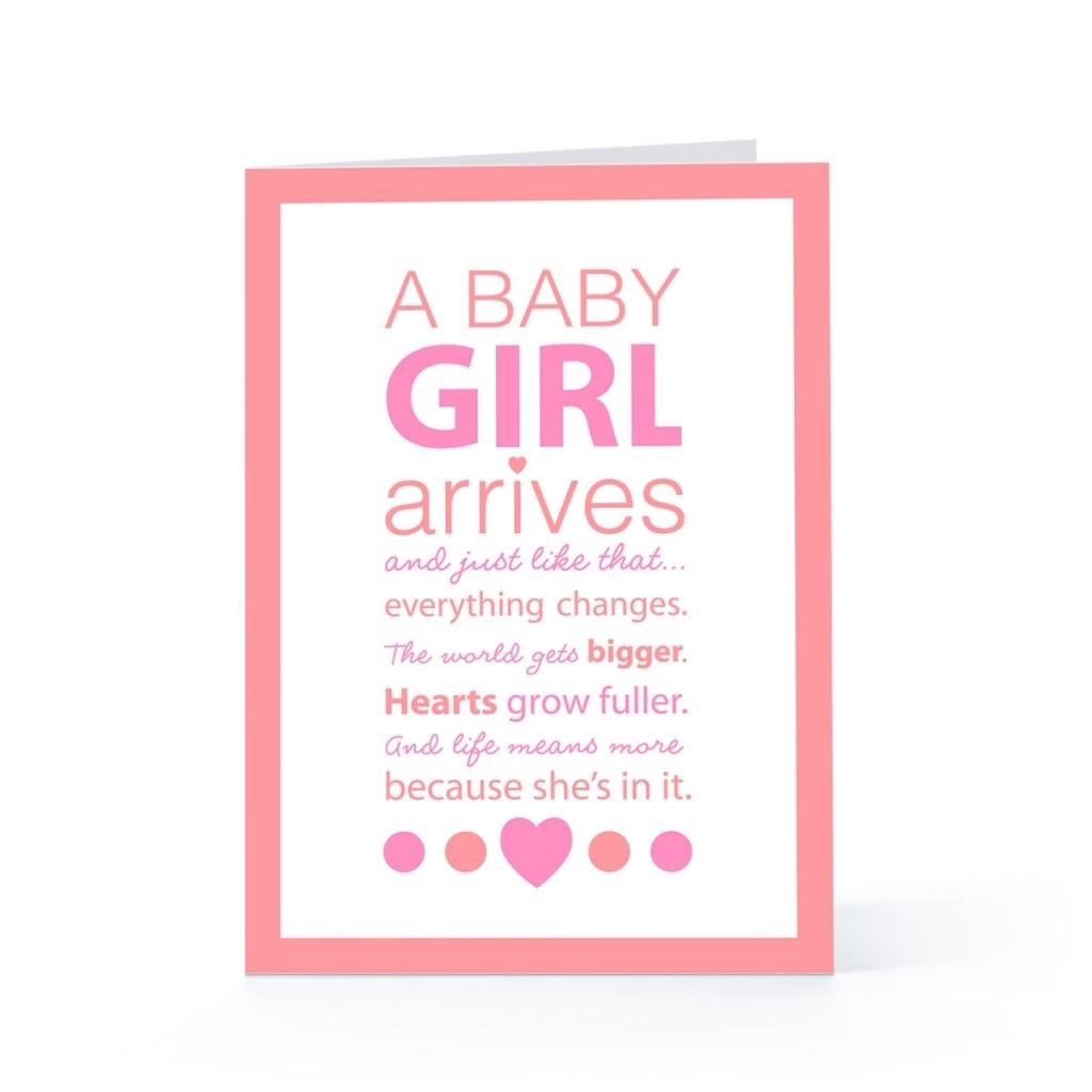 Baby Tochter tolle Grußkarte rosa