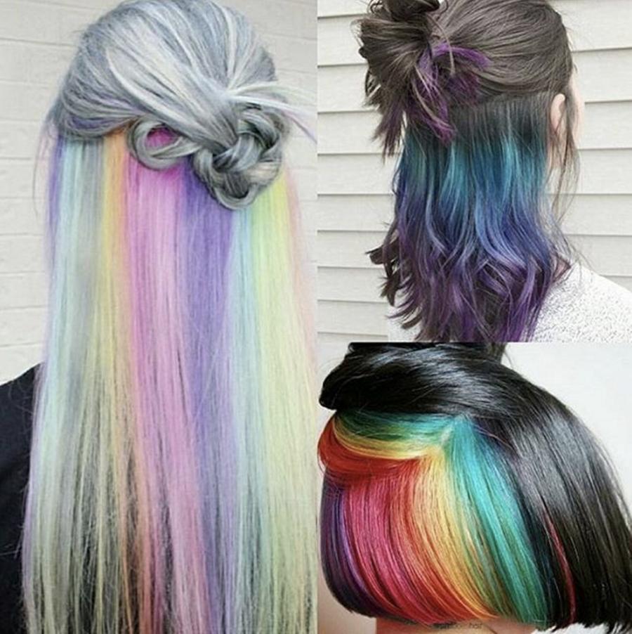 bunte Haare färben Regenbogenfarben echter Blickfang