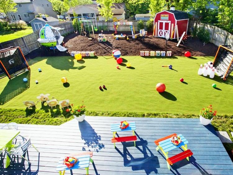 Spielplatz im Garten selber gestalten kreative Ideen