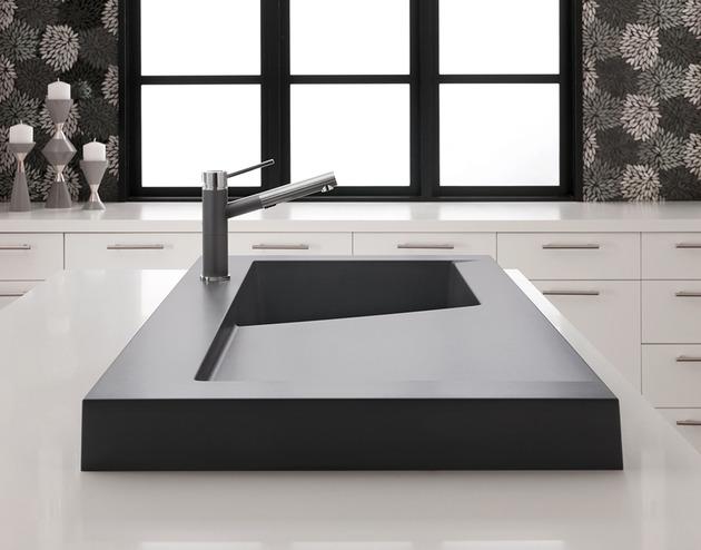 Küchenspüle aus Granit Wasserhahn Edelstahl